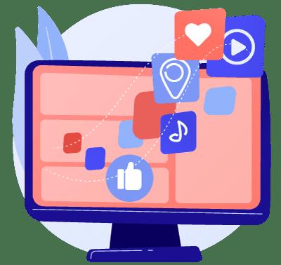 pc social media streaming connectivity icon